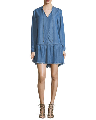 Mel Split-Neck Long-Sleeve Denim Shift Dress