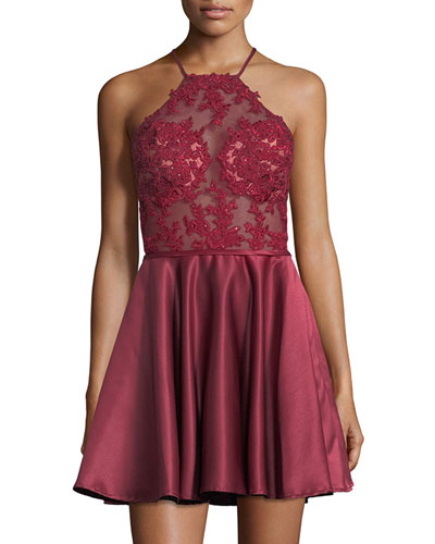 Halter-Neck Sleeveless Open-Back Lace Cocktail Dress