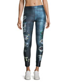Ripped Jeans Capri Performance Leggings