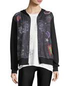 Denim Crystal Zip-Front Printed Jacket