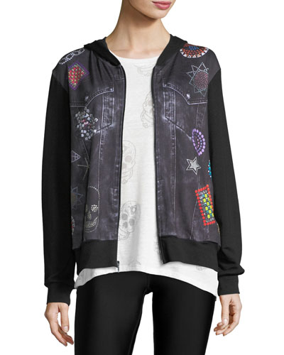 Denim Crystal Zip-Front Printed Jacket
