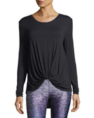 Twist-Front Long-Sleeve Jersey Top