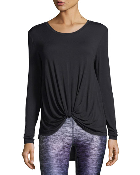 Terez Twist-Front Long-Sleeve Jersey Top