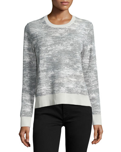 Long-Sleeve Abstract-Striped Pullover, Chalk/Charcoal