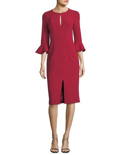 3/4-Sleeve Stretch Crepe Sheath Dress