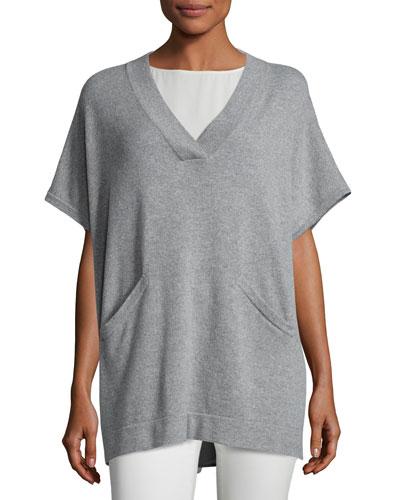 Cashmere V-Neck Poncho-Style Tunic