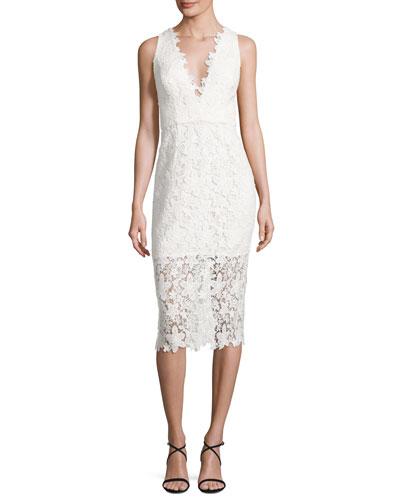 Sleeveless V-Neck Lace Sheath Dress, Off White