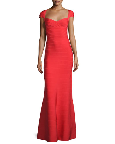 Cap-Sleeve Sweetheart Bandage Gown, Coral Poppy
