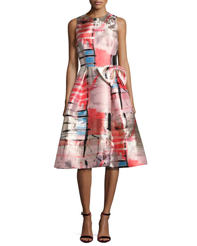 Sleeveless Metallic Printed Gazar Cocktail Dress