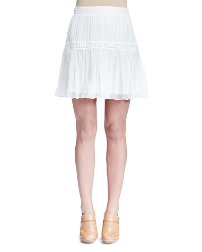Pleated Tiered Mini Skirt, White