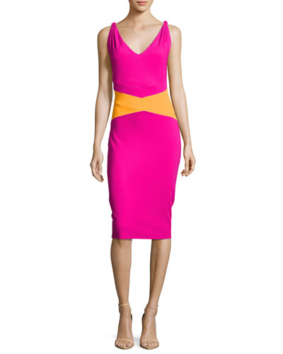 Dorcas Sleeveless Colorblock Cocktail Dress, Pink