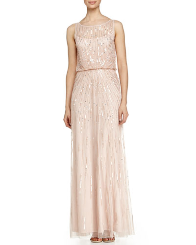 Illusion-Neck Beaded Gown, Petal