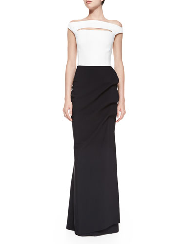 Off-the-Shoulder Colorblock Ruched Long Dress