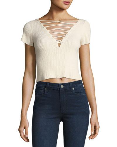 Short-Sleeve Lace-Up Crop T-Shirt