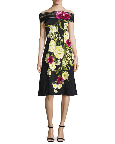 Off-the-Shoulder Lace-Trim Floral Dress, Black/Yellow