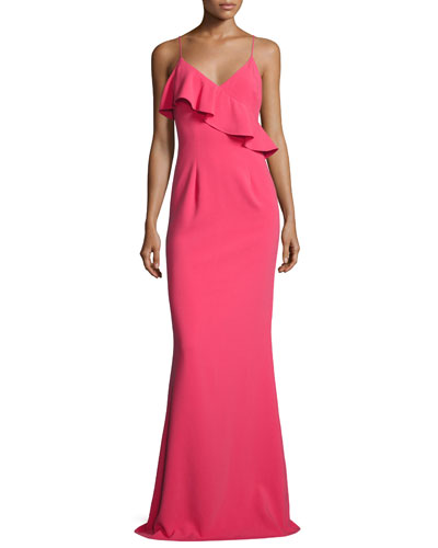 Calia Sleeveless Ponte Ruffle Gown