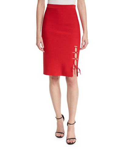 Laced-Slit Pencil Skirt, Vermillion
