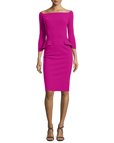 3/4-Sleeve Off-the-Shoulder Peplum Sheath Dress, Cyclamen