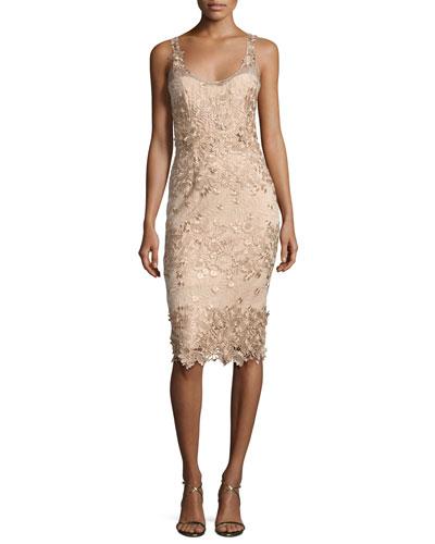 Sleeveless Metallic Floral Sheath Dress, Beige