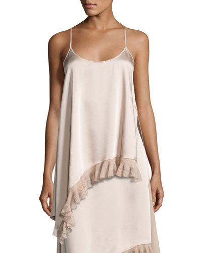 Angela Sleeveless Asymmetric Satin Top