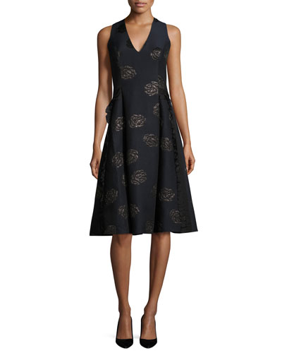 Sleeveless Floral Jacquard Cocktail Dress, Lapis