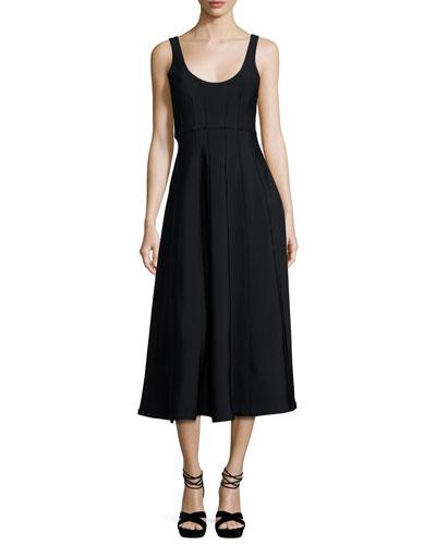 Corset Structured Crepe A-Line Midi Dress