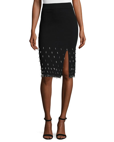 Beaded Knit Pencil Skirt