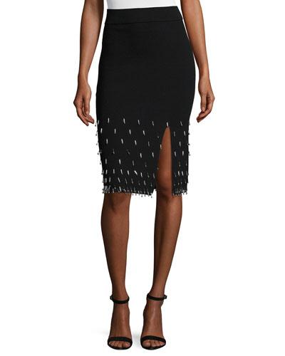 Beaded Knit Pencil Skirt