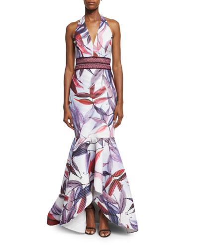 Leaf-Printed Macrame Mermaid Dress, Ivory/Multi