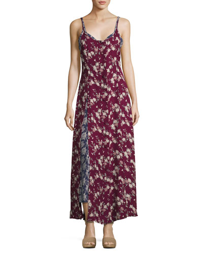 Nathalia Layered Floral Silk Maxi Dress, Berry Multicolor