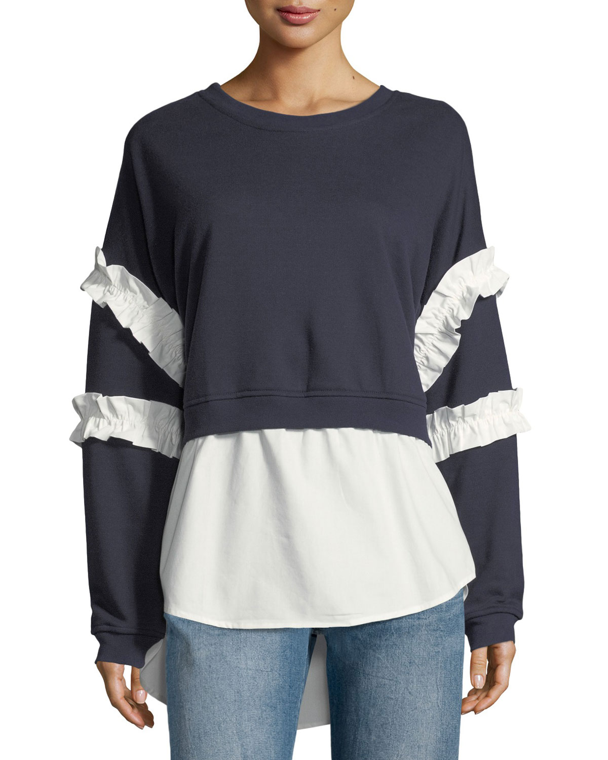 Ruffle-Trim Twofer Sweatshirt