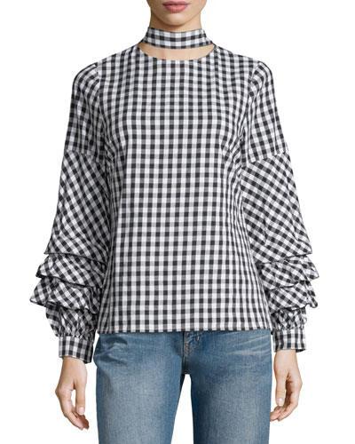 Check-Print Ruffle-Sleeve Blouse