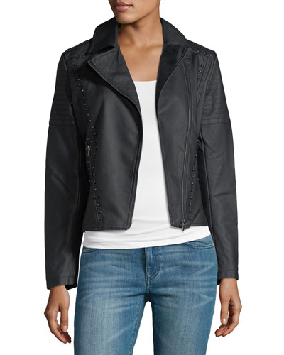 Studded-Trim Faux-Leather Moto Jacket