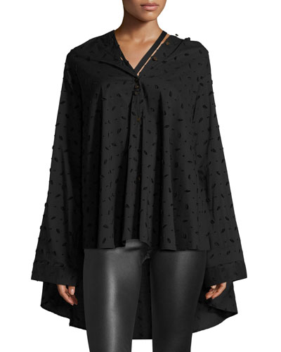 PALMER/HARDING Jasmin Oversized Button-Front Shirt in Black Pattern