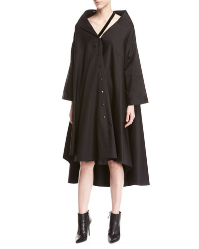 jasmin bateau-neck button-front long-sleeve a-line dress