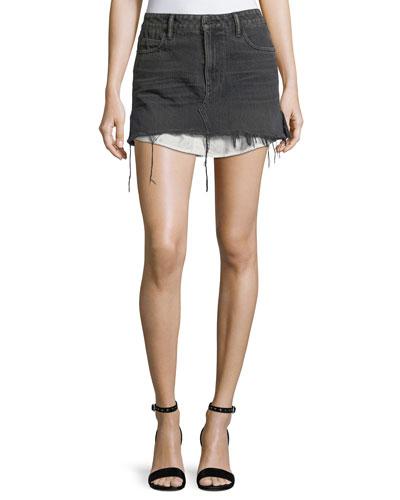 Mid-Rise Cutoff Denim Skirt w/ Shirttail Hem