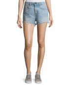 Bite Light-Wash High-Rise Cutoff Denim Shorts