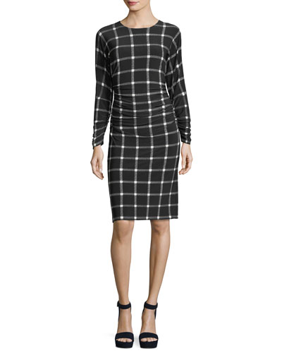 Long Dolman-Sleeve Shirred-Waist Plaid Cocktail Dress