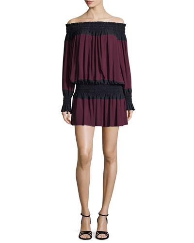 Spliced Off-the-Shoulder Peasant Mini Dress w/ Smocking