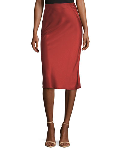 Heavy Draped Satin Pencil Midi Skirt