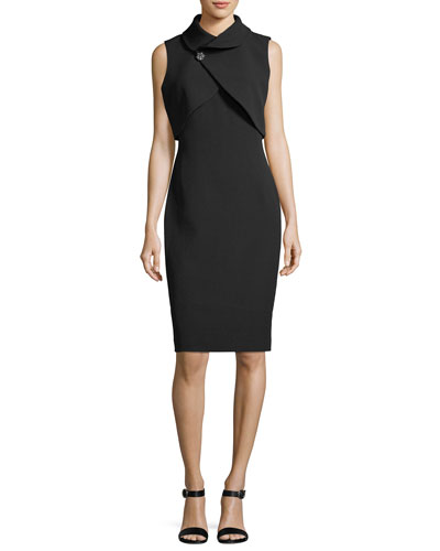 Wrap-Popover Sheath Cocktail Dress w/ Jeweled Pin