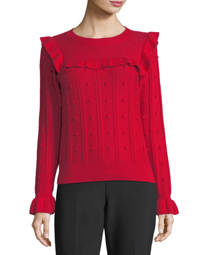 ruffle-yoke textured wool-blend sweater
