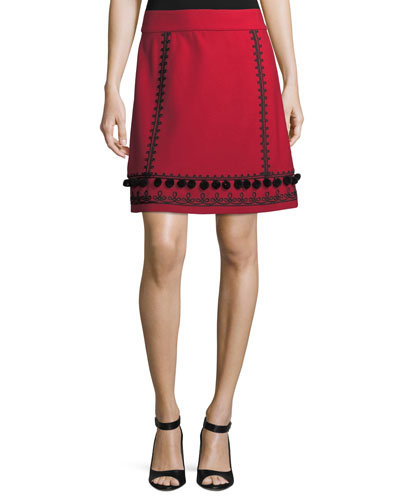 pompom embroidered a-line skirt