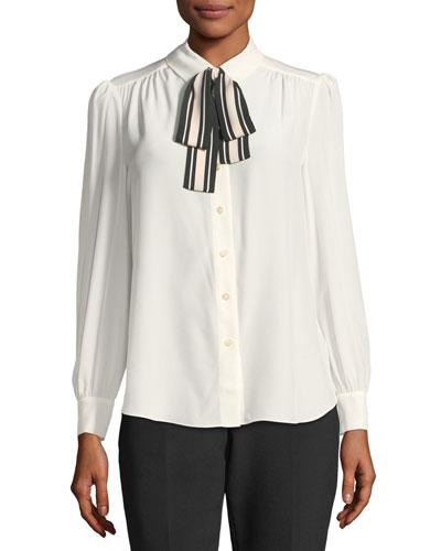 long-sleeve silk button-down shirt w/ striped tie