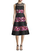 sleeveless salon rose palma fit-and-flare dress
