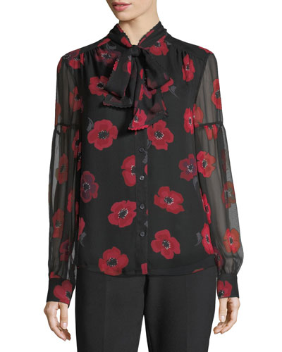 long-sleeve tie-neck poppy chiffon silk blouse