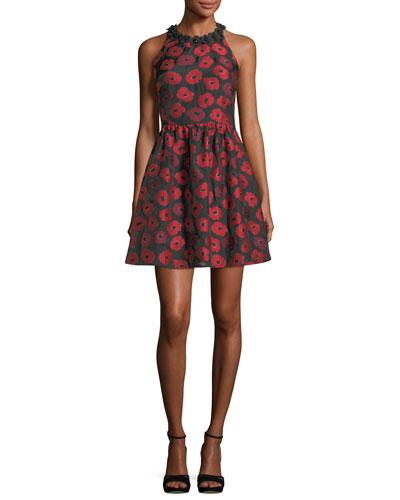 sleeveless t-back poppy jacquard dress