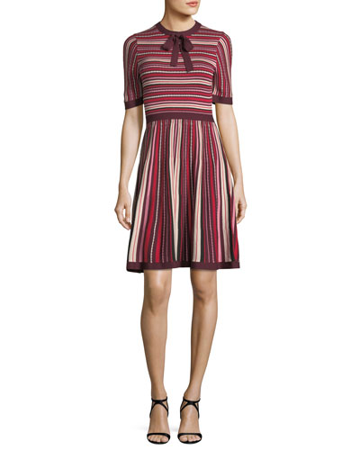 short-sleeve multi-stripe sweater dress