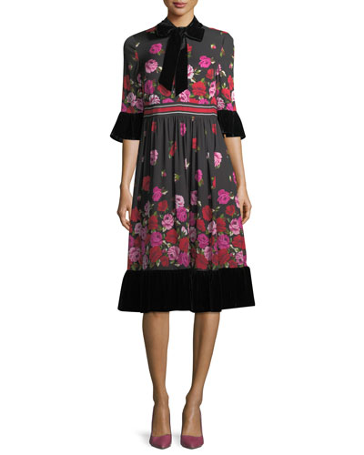 dru bell-sleeve tie-neck scattered rose dress