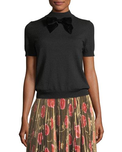 short-sleeve blouson sweater w/ velvet bow